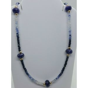 50+ct 14k Gold Faceted Blue Sapphire Bead Necklace